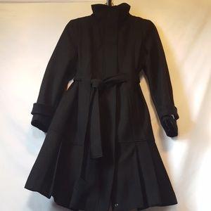 Calvin Klein Pleated Hem Wool Coat